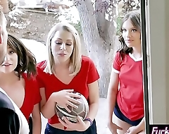 Horny sport teens got banged in a hard foursome sex