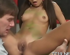 Gorgeous legal age teenager gives head and rides a large pole passionately