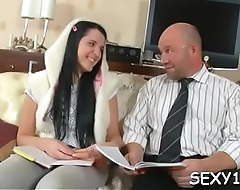 Sweet sweetheart is getting spooned by horny old teacher
