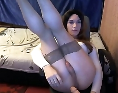Teen Trans Dildoing Her Asshole During Masturbation Session
