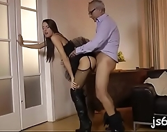 Tiny beauty can barely take his bulky cock in her holes