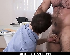 Twink Step Son Stays Home From School To Have Sex With His Muscle Bear Step Dad