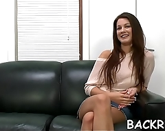 Chick with deadly curves gets slammed by her interviewer