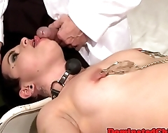 Tormented babe throatfucked and buttfucked