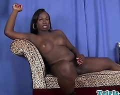 Black shemale beauty solo masturbates