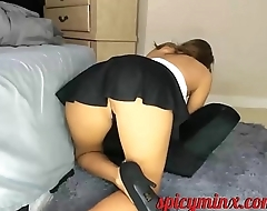 Mini Skirt, G-String and a puffy pussy