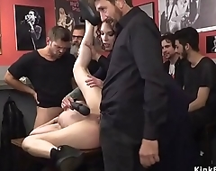 Blonde gangbanged in public bar
