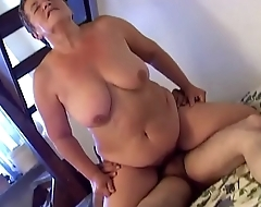 Horny granny penetrates with dildo &nbsp_young lover