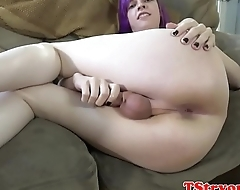 Emo auditioning trans jerks and teases cock