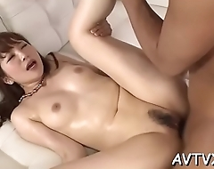 Stud is receving an arousing oral-service from cute asian