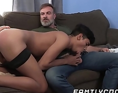 Young gay latino cums hard breeding with hairy stepdaddy