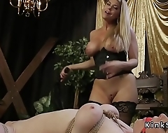 Blonde with strap on fucked redhead