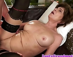Busty gilf masturbates before getting fucked