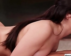 Brunette masseuse Valentina Nappi slide her body on her client during nuru massage play